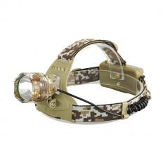 Lanterna Frontala Desert Camouflage cu Led CREE T6 + 2 Ac. 18650 + 2 inc. NOU