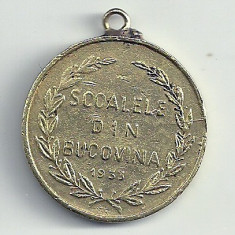 MEDALIE ROMANIA : SCOALELE din BUCOVINA -1933 VIZITA M.S. REGELUI CAROL II - Medalii Romania