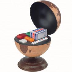 Glob pamantesc mic de birou din piele cu jocuri de noroc