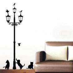 Bricolaj - Sticker de perete, autocolant, pisici negre sub felinar,