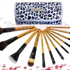 Pensula make-up - Trusa 12 pensule machiaj profesionale Fraulein38 Germania Animal Print Panther