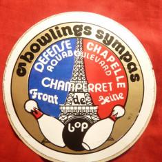 Vigneta adeziva - Campionatul de Popice - Bowling - Cartonas de colectie