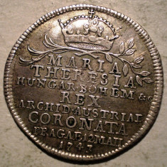 G.080 AUSTRIA BOHEMIA MARIA THERESA JETON INCORONARE PRAGA 1747 ARGINT 4, 17g - Jetoane numismatica