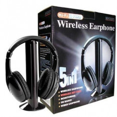 CASTI WIRELESS 5 IN 1 CU MICROFON SI RADIO FM - Casti PC