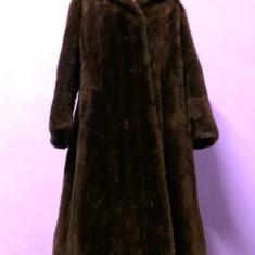 Palton dama, Lana - Haina din blana naturala mouton dore