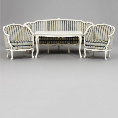 Salon, stil rococo, 3 piese canapea, 2 fotolii, - Mobilier