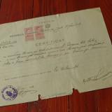 acte / documente vechi - Certificat anul 1943 Judetul Mehedinti !!!