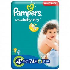 Scutece Pampers nr. 4+ copii 9-16 kg Giant Pack 74 buc (0.93 lei / buc) - Scutece unica folosinta copii