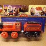 Wooden trenulet Thomas - MIKE locomotiva cu vagon din lemn cu magnet - NOU - Trenulet de jucarie, Unisex