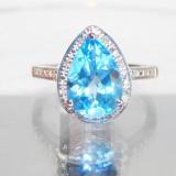 Inel diamant, 46 - 56 - Inel aur 14k TOPAZ ALBASTRU 3.57ct si diamante accente