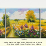 Zi frumoasa de vara (1) - tablou 3 piese, ulei pe panza, 160x70cm, An: 2016, Peisaje, Altul