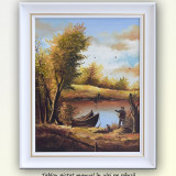 Pescar (1) - peisaj din natura, ulei pe panza, cu rama alba, 55x45cm - Pictor roman, An: 2016, Peisaje, Altul