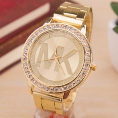 NOU Ceas de dama MICHAEL KORS auriu elegant cu bratara metalica + saculet CADOU - Ceas dama Michael Kors, Lux - elegant, Quartz, Metal necunoscut, Analog