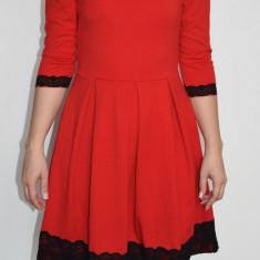 Rochie rosie cu dantela neagra marimea S (Moon Collection) - Rochie de seara, Marime: S, Culoare: Rosu
