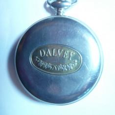 Ceas mecanic de buzunar Dalvey Scotland, mecanism la vedere prin cadran - Ceas de buzunar