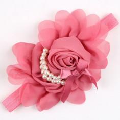 Bentita elastica bebelusi fetite nunta floare trandafir roz cu perlute albe NOU