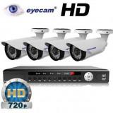 Camera CCTV - Kit supraveghere AHD cu 4 camere 1MP si DVR Eyecam EC-AHD-KIT1
