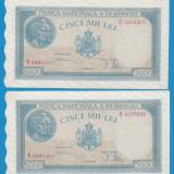 5000 lei 1945 21 august Serii Consecutive