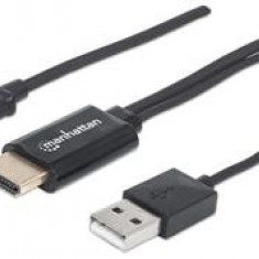 Cablu PC - Manhattan MHL Cable / Adapter Micro-USB 5-pin to HDMI, connects smartphone to TV