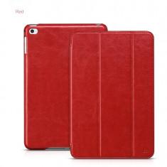 Husa/toc LUX piele fina HOCO Crystal, iPad MINI 4, smart cover, ROSU - Husa Tableta