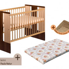 Pat copii - Patut fara sertar KLUPS Paula Natur Wenge + Saltea Fibra MyKids
