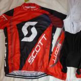 echipament ciclism scott rc rosu set tricou pantaloni cu bretele  jersey bib