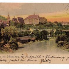 SIGISOARA SCHAESSBUEG CIRCULAT IN 1905 EDITURA FRITZ TEUTSCH TARNAVA MARE - Carte Postala Transilvania pana la 1904, Circulata, Printata
