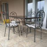 Masa de terasa gradina cu 4 scaune din fier forjat