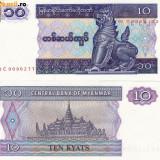 MYANMAR, 10 KYATS 1994, UNC