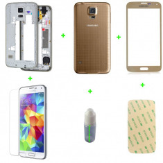 Rama Samsung Galaxy S5 + capac + geam sticla+loca cleaner+ folie sticla+ adeziv