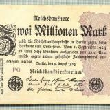 A 118 BANCNOTA-GERMANIA -2 MILION MARK- anul 1923-SERIA FARA-starea care se vede