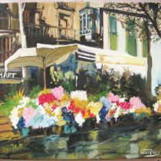 Tablou pictat ulei pe panza Peisaj de vara in Barcelona - Tablou pictori romani, Peisaje, Ulei, Realism