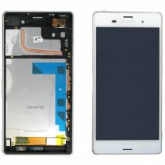 Ansamblu LCD Display Laptop Touchscreen touch screen Sony Xperia Z3 D6603 Alb cu rama ORIGINAL - Display LCD