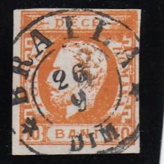 ROMANIA 1871 LP 31 CAROL I CU BARBA VAL 10 B PORTOCALIU STAMP BRAILA POINCON - Timbre Romania, Stampilat