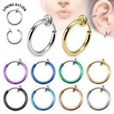 Piercing fals pentru nas sau ureche, din titan, cerc simplu, lucios - Piercing ureche
