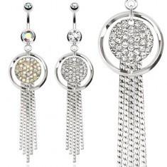 Piercing pentru buric din oțel, inel și cerc cu strasuri, lanțuri - Piercing buric