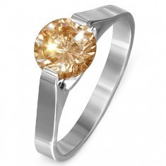 Inel din oțel - piatră galbenă