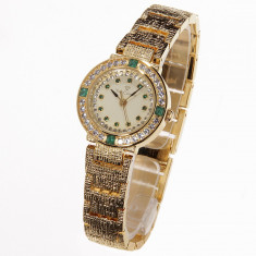 Ceas YVES CAMANI Lady Emerald cu Cristale si Smaralde Model Nou - Ceas dama Yves Camani, Lux - elegant, Quartz, Inox, Metal necunoscut, Rezistent la apa