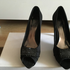 Pantofi ocazie, satin negru cu piatra stralucitoare - Pantof dama Zara, Marime: 38 2/3