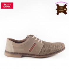 Pantofi barbati piele naturala RIEKER bej (Marime: 42)