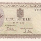 ROMANIA 500 lei 2 aprilie 1941 - filigran vertical AUNC!!!