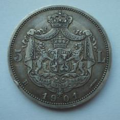 5 LEI 1901 Romania Carol - I - Rege - Moneda Romania