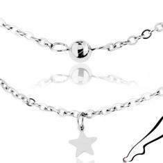 Lanț de picior, din oțel inoxidabil argintiu, stele lucioase și bile - Lantisor inox