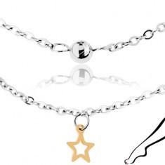 Brățară de picior argintie din oțel, mărgele lucioase și contururi de stele - Lantisor inox