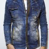 Geaca de blugi tip Zara Man - jacheta blugi cu captuseala geaca slim fit  cod 55