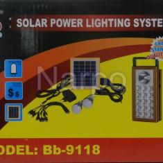 Kit Solar panou 2.5W BB9118 + USB + Lanterna + 2 becuri led + Acumulator 4V2.5A - Panouri solare
