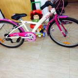 Bicicleta btwin fete 24' - Mountain Bike, 12 inch, Numar viteze: 7, Otel, Alb-Roz