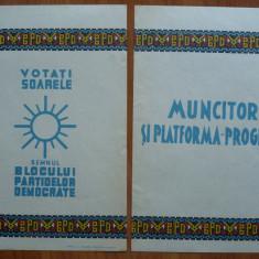 2 pliante electorale ale Blocului Partidelor Democratice la alegerile din 1946