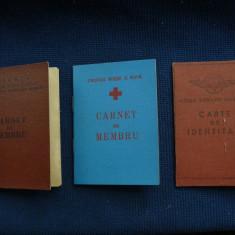Lot 3 bucati Carnet de Membru Cruce Rosie, Sport siCarnet de Identitate CFR, - Pasaport/Document, Romania de la 1950