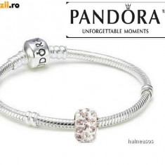 Bratara PANDORA argint S925 ALE+2charm swarovski cadou/2 charm murano - 17, 20cm - Bratara argint pandora, Femei